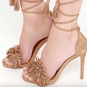 Steve Madden Sassey Blush Suede Lace-Up Heels